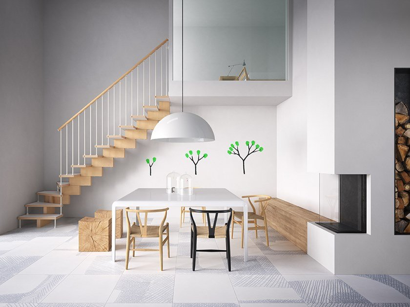 Self supporting modular steel and wood Open staircase UNIKA 030 by Fontanot