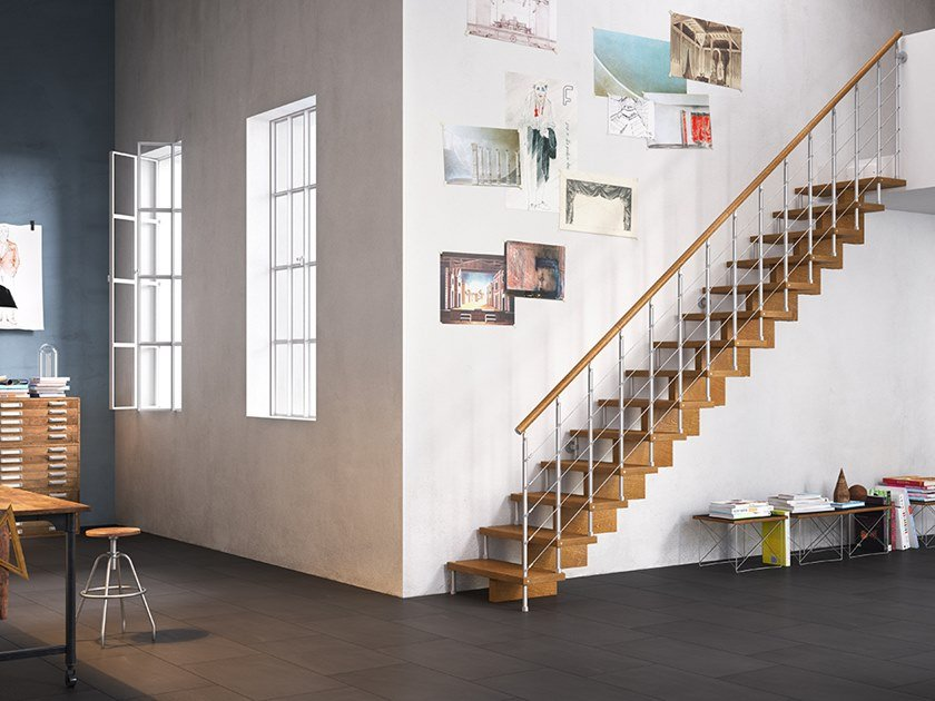 Self supporting modular steel and wood Open staircase UNIKA 040 by Fontanot