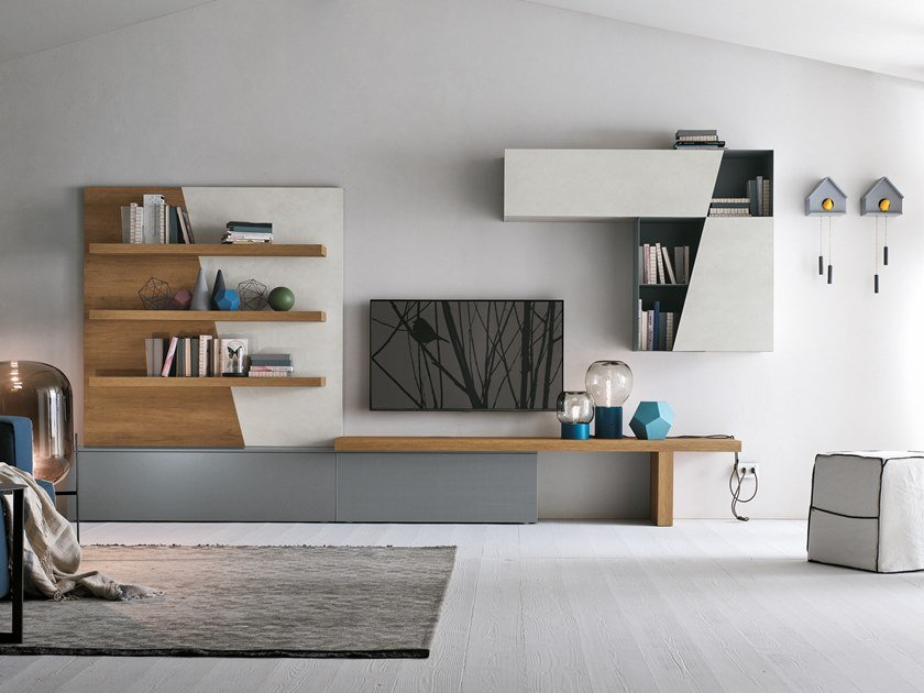 Sectional storage wall UNIT A064 by Gruppo Tomasella