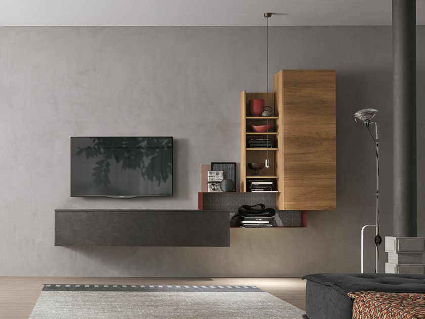 Parete attrezzata componibile UNIT A073 by Gruppo Tomasella