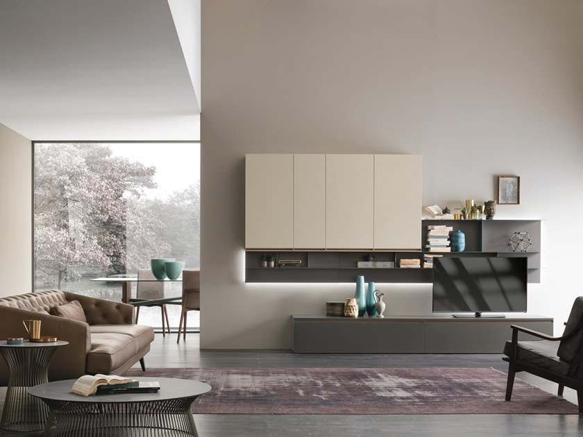 Sectional storage wall with integrated lighting UNIT A104 by Gruppo Tomasella