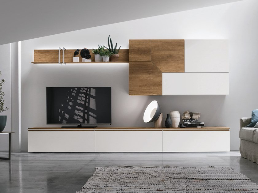 Sectional storage wall with integrated lighting UNIT A109 by Gruppo Tomasella