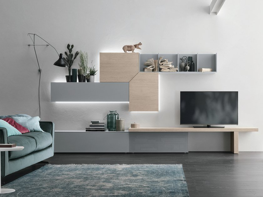 Sectional storage wall with integrated lighting UNIT A110 by Gruppo Tomasella