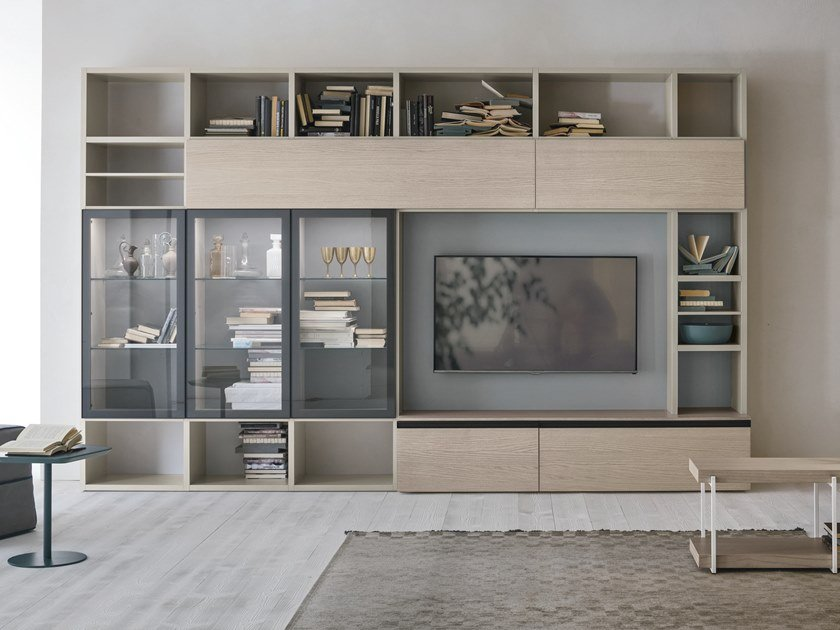 Sectional storage wall UNIT A116 by Gruppo Tomasella