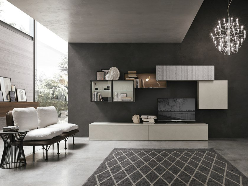 Contemporary style sectional wall-mounted lacquered wood-product storage wall UNIT A123 by Gruppo Tomasella