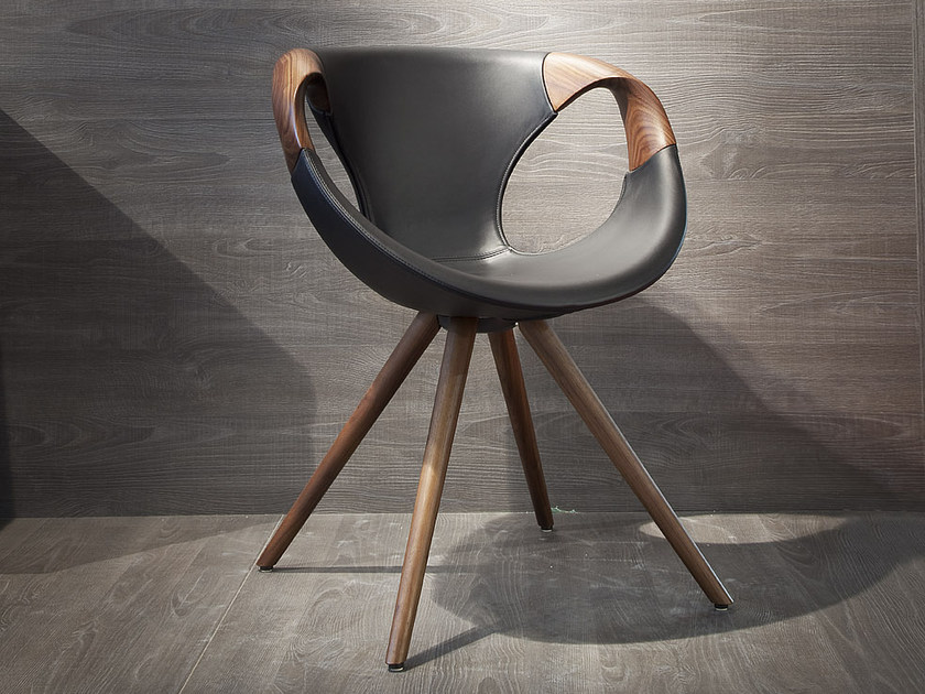 Trestle-based leather chair UP WOOD | Leather chair by Tonon