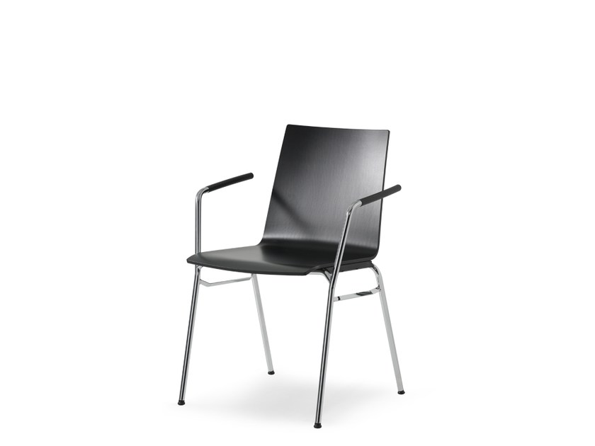 Stackable wood-product training chair with armrests UPDATE | Training chair with armrests by Wiesner-Hager