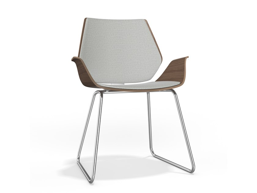 Sled base upholstered wooden chair with armrests CENTURO I | Upholstered chair by Casala