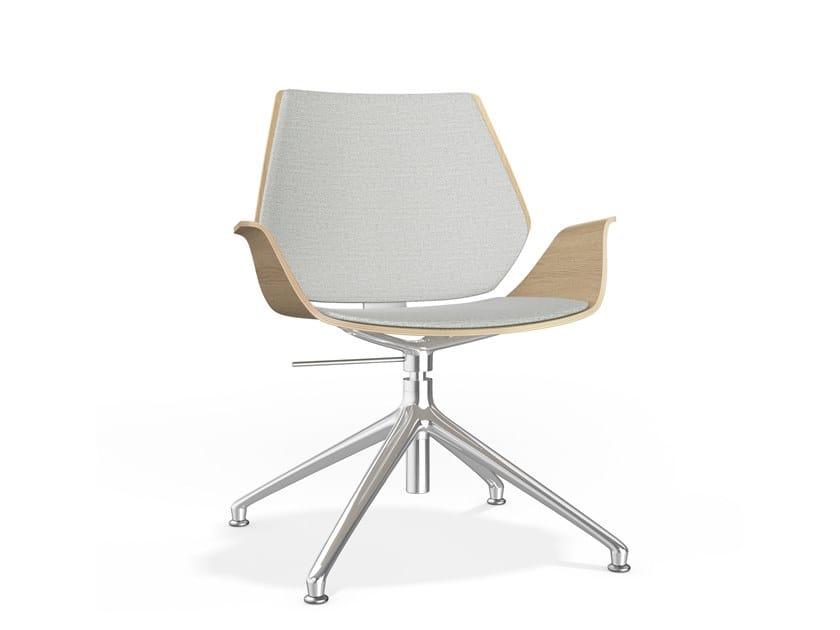 Drehbarer höhenverstellbarer Stuhl aus Holz auf fixem Fußgestell CENTURO IV | Gepolsterter Stuhl by Casala