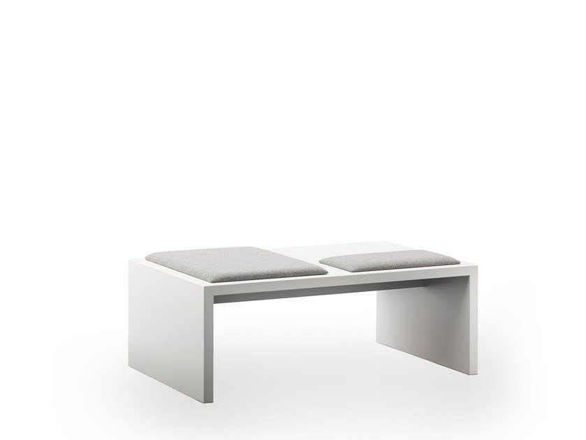 Upholstered lacquered bench seating LIMES | Upholstered bench by rosconi