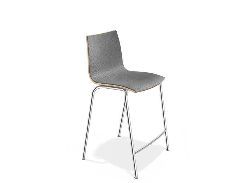 Upholstered beech stool with footrest ONYX BARSTOOL | Upholstered stool by Casala