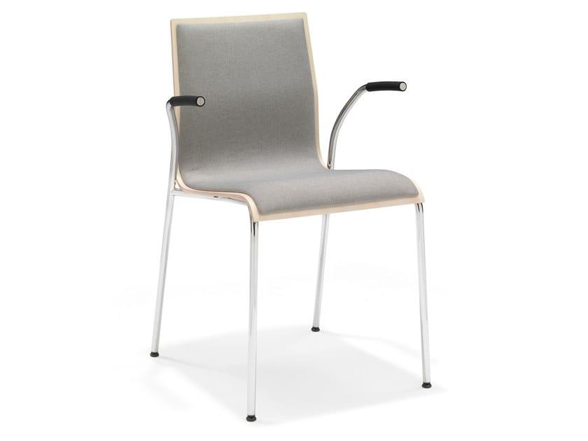 Upholstered stackable melamine training chair with armrests NOA III | Upholstered training chair by Casala