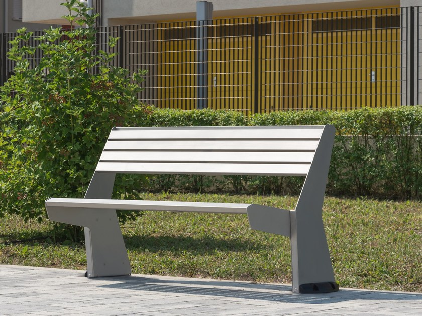 Contemporary style metal Bench with back UR 12 - 13 by Arco