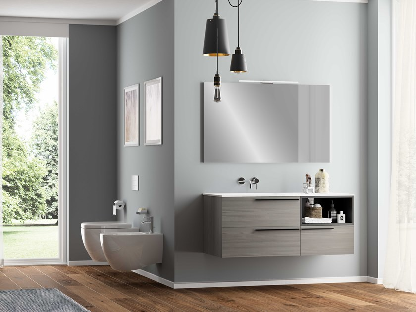 Single wall-mounted vanity unit UR06 | Vanity unit by Mobiltesino