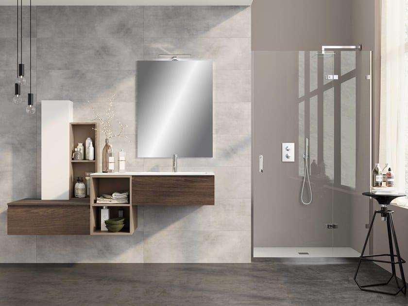 Single wall-mounted vanity unit UR18 | Vanity unit by Mobiltesino