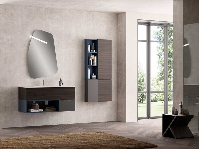 Single wall-mounted vanity unit UR24 | Vanity unit by Mobiltesino