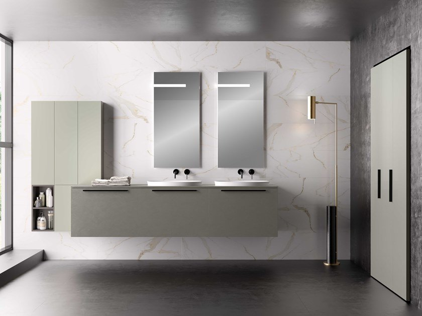 Double vanity unit with drawers UR29 | Vanity unit by Mobiltesino