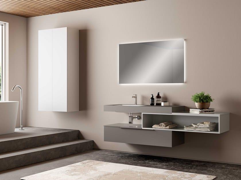Single wall-mounted vanity unit UR30 | Vanity unit by Mobiltesino