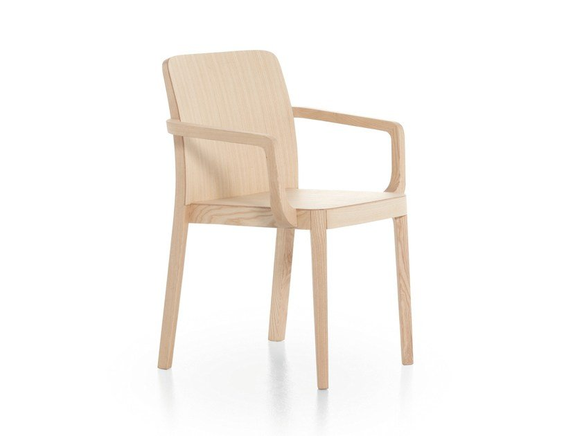 Stackable ash chair with armrests URBAN 12L by Very Wood
