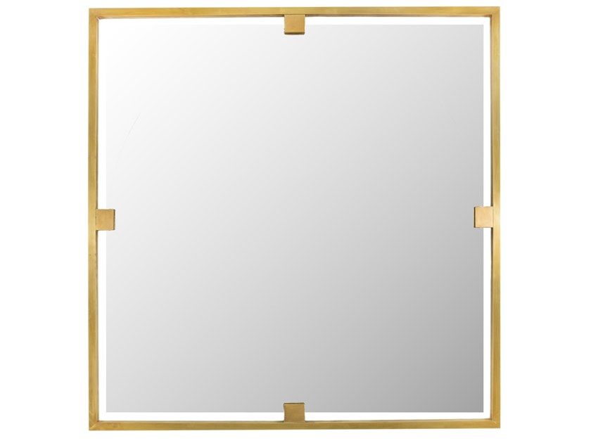Square framed brass mirror TIMELESS URBAN 51 by Il Bronzetto