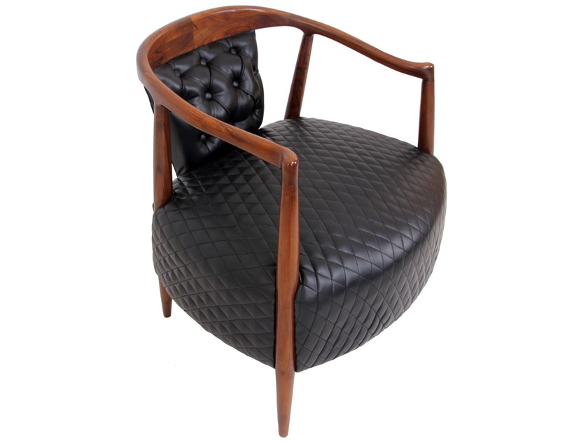 Tufted leather easy chair with armrests URU | Leather easy chair by ALANKARAM
