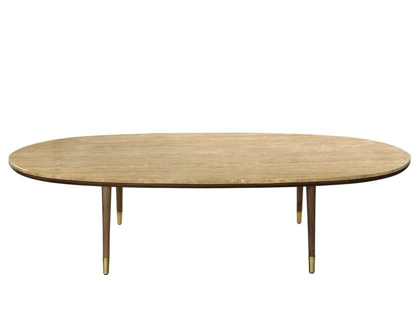 Oval travertine coffee table UVA DO MAR | Travertine coffee table by Branco sobre Branco