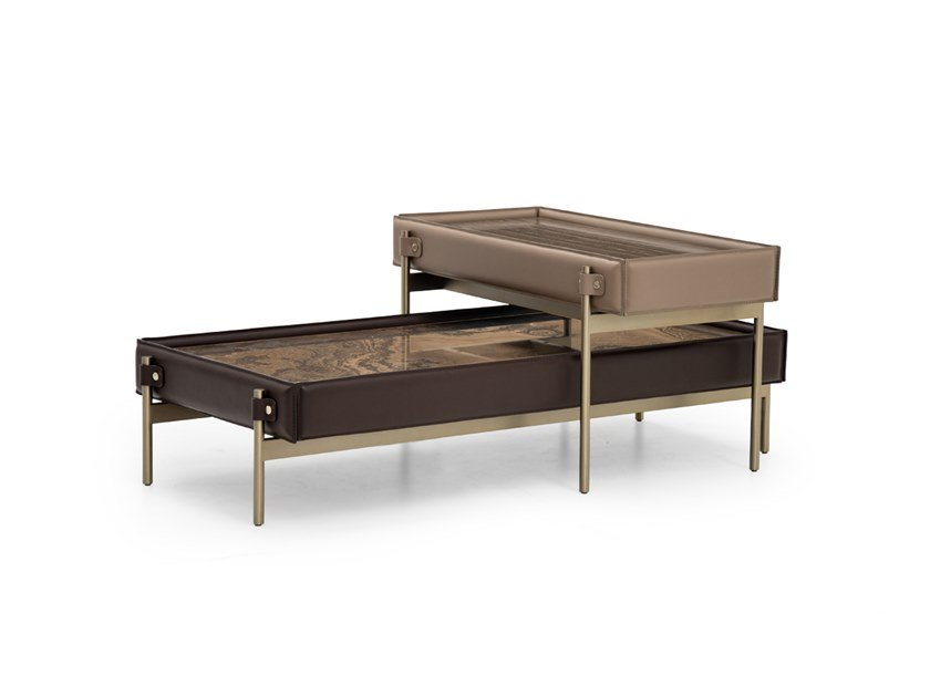 Rectangular Tobacco Brown marble coffee table V216 | Tobacco Brown marble coffee table by Aston Martin