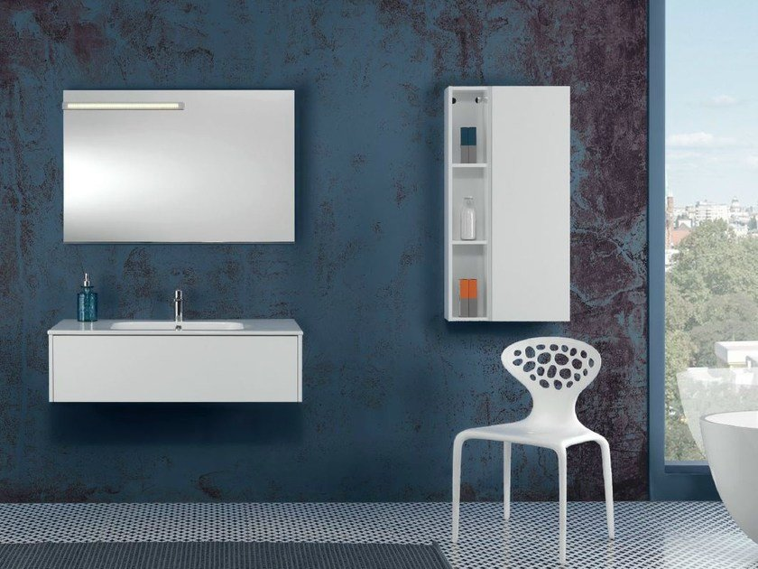 Lacquered wall-mounted vanity unit with cabinets V53 by Mobiltesino
