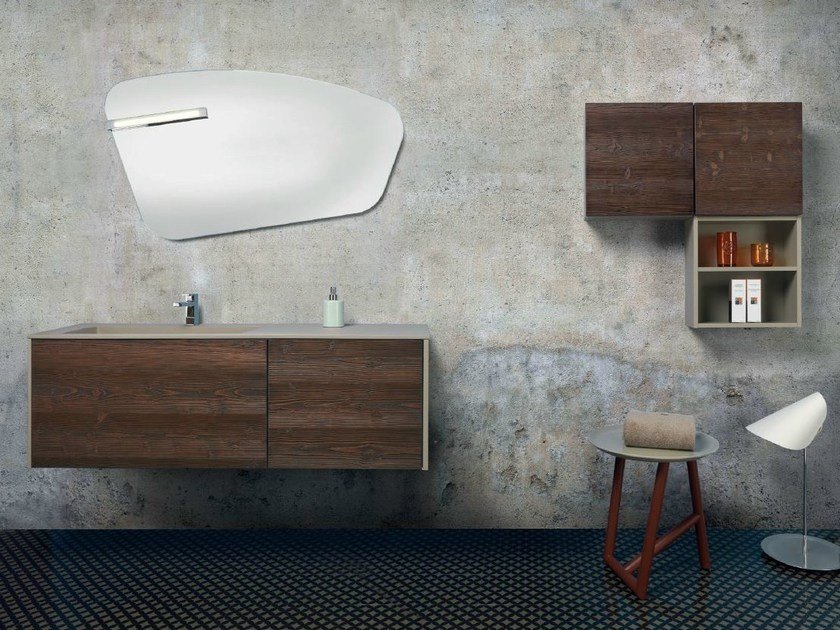 Wall-mounted vanity unit with drawers V54 by Mobiltesino