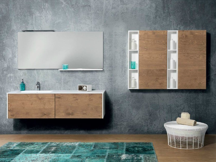 Wall-mounted vanity unit with cabinets V56 by Mobiltesino