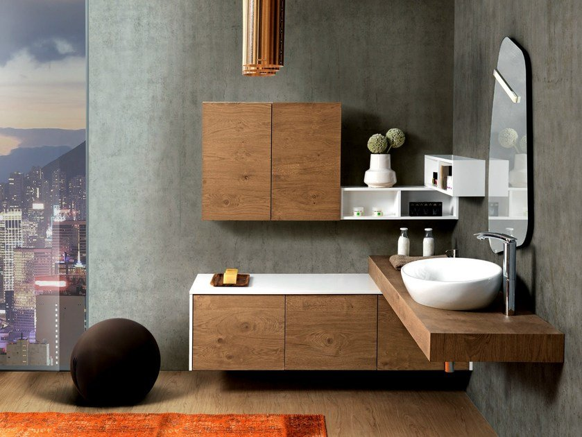 Corner wall-mounted vanity unit with cabinets V57 by Mobiltesino