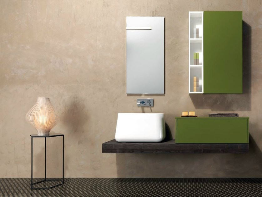 Wall-mounted vanity unit with cabinets V58 by Mobiltesino
