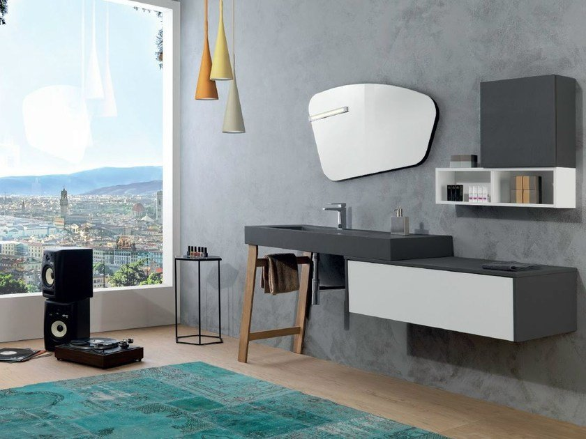 Vanity unit with cabinets V59 by Mobiltesino