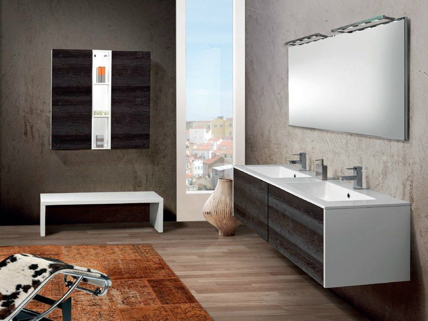 Double wall-mounted vanity unit with drawers V60 by Mobiltesino