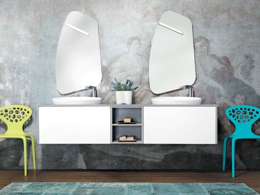 Double wall-mounted vanity unit with drawers V61 by Mobiltesino