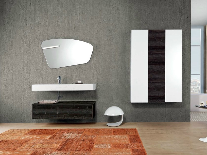 Wall-mounted vanity unit with cabinets V62 by Mobiltesino