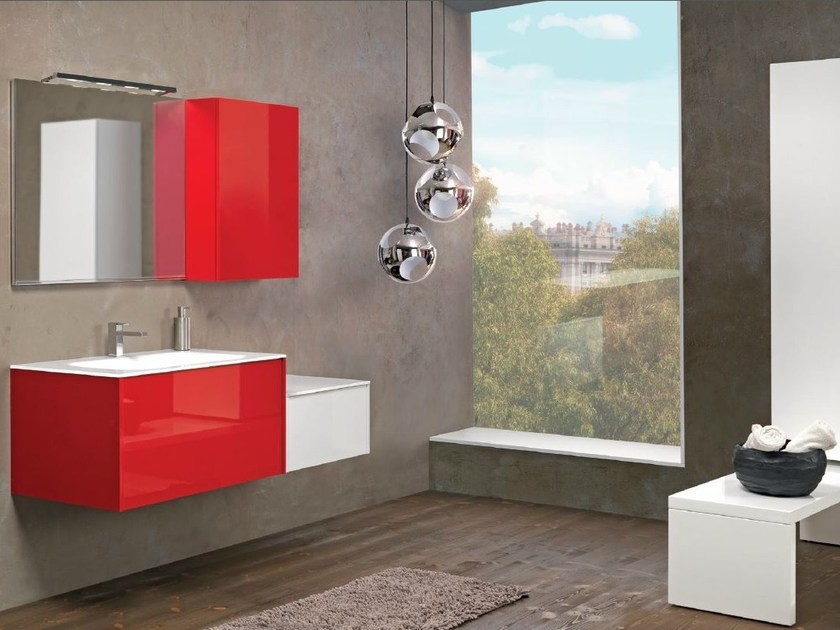 Lacquered wall-mounted vanity unit with cabinets V63 by Mobiltesino