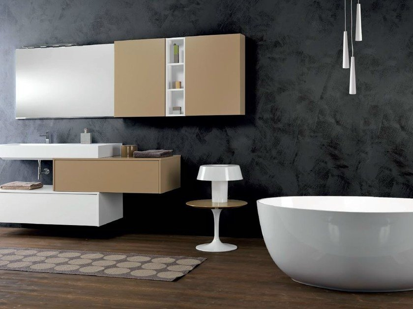 Lacquered wall-mounted vanity unit with cabinets V65 by Mobiltesino
