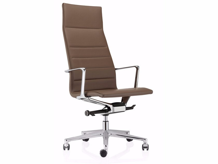 High-back leather executive chair with 5-spoke base VALEA ESSE | Executive chair by ICF