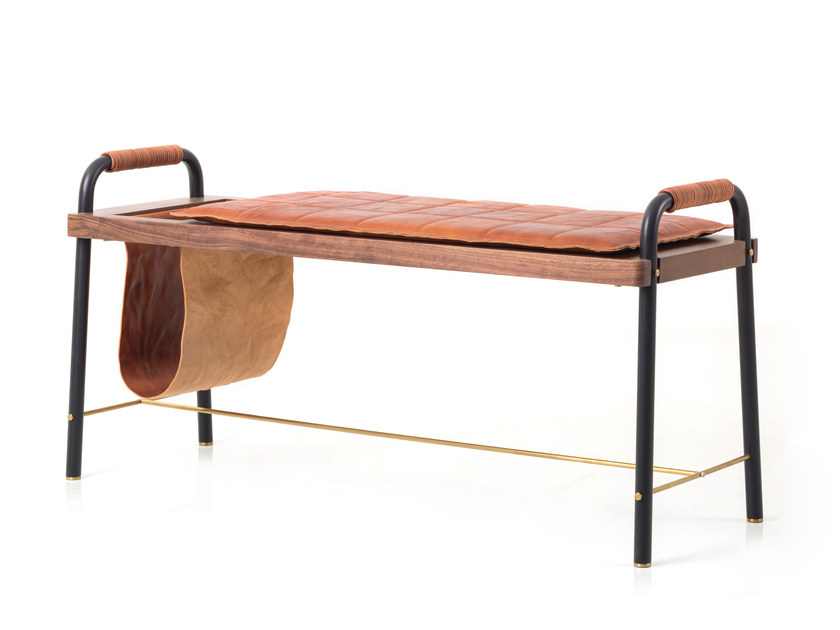 Upholstered leather bench VALET SEATED BENCH by STELLAR WORKS