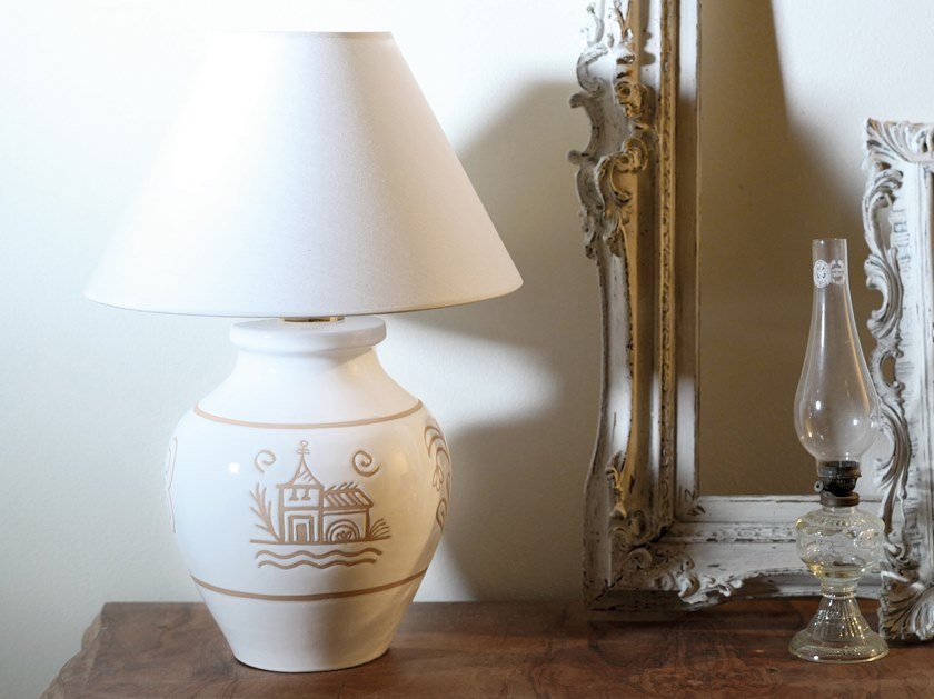 Direct-indirect light ceramic table lamp VALLAURIS   Table lamp by Cerasarda