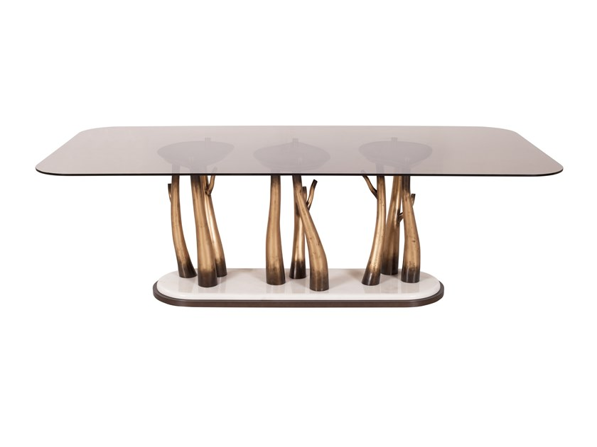 Rectangular glass dining table VALLIN | Glass table by Green Apple