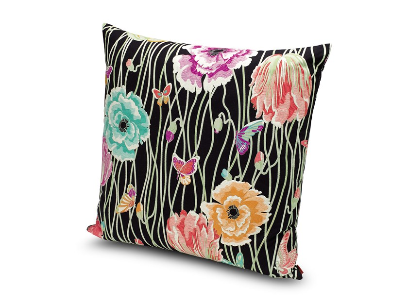 Square fabric cushion with floral pattern VALMADRERA | Cushion by MissoniHome