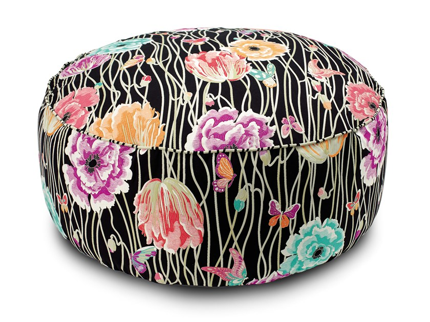 Fabric pouf with removable lining VALMADRERA | Pouf by MissoniHome