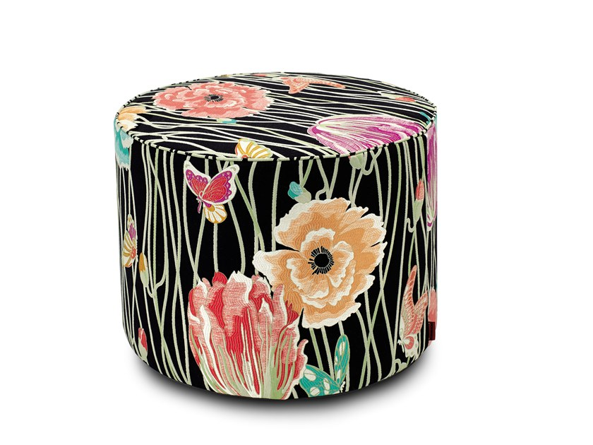 Fabric pouf with removable lining VALMADRERA | Round pouf by MissoniHome