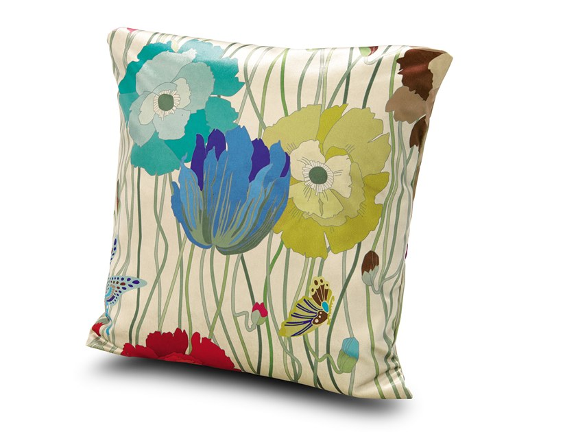 Square Trevira® CS cushion with floral pattern VANCOUVER | Cushion by MissoniHome