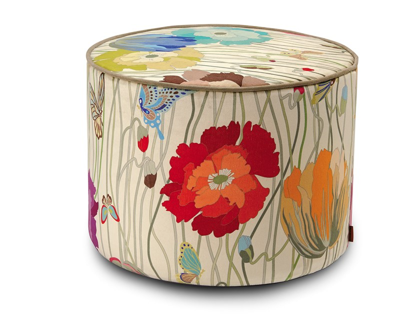 Round Trevira® CS pouf with removable lining VANCOUVER | Round pouf by MissoniHome