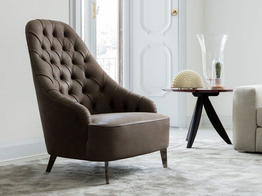 Tufted high-back leather armchair VANESSA | Tufted armchair by BertO