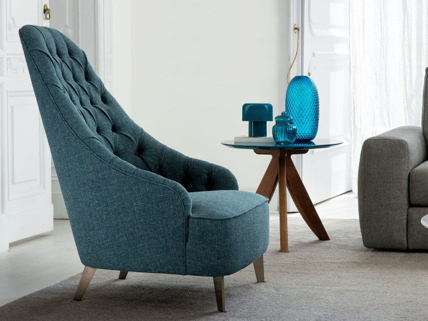 Tufted high-back fabric armchair VANESSA | Fabric armchair by BertO