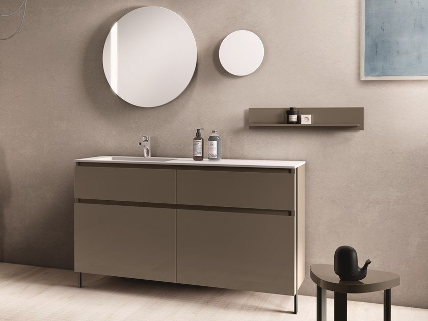 Floor-standing lacquered vanity unit with drawers SEGNO | Floor-standing vanity unit by Cerasa